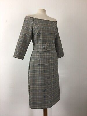 ab528b94 ZARA Grey Check Bardot Style Pencil Dress With Belt Size L Fits Approx 12