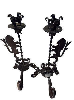 SPANISH COLONIAL REVIVAL CANDLE HOLDERS Wrought Iron with Lions, PAIR,1920's