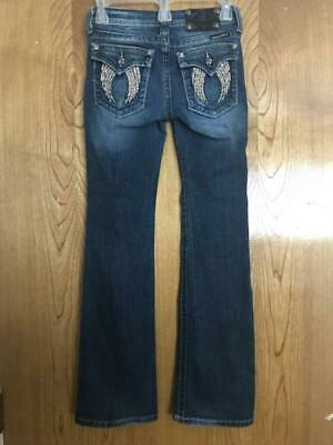 e2a57aac163 Girls MISS ME Jeans BOOTCUT Size 12 ANGEL WINGS Back Pockets JK5082B12  *NIce!*