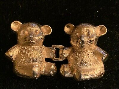 Vintage DOTTY SMITH Teddy Bear Belt Buckle Signed Gold Plated