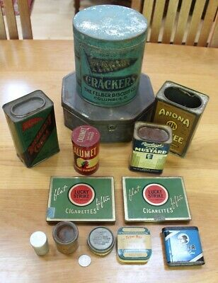 Mixed Lot 13 Vintage Antique Advertising Tins Tobacco Spice Coffee Biscuits MORE