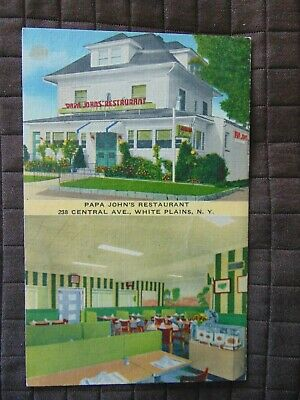 WHITE PLAINS NEW YORK~ Papa Johns Restaurant~ Antique Linen Postcard