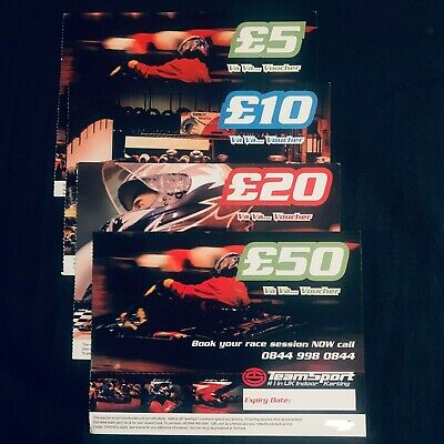 TeamSport Vouchers - Available in £5, £10, £20 & £50