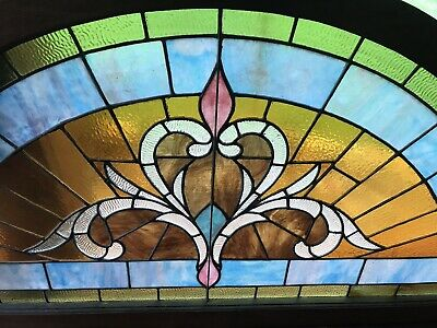 6ft LARGE Antique Stained Glass ~ Half Round Moon Flower ~ Architectural Salvage