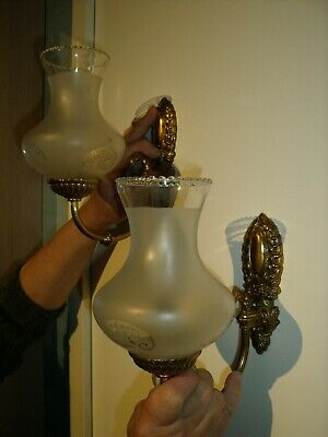 Pair of Vintage French Gilt Ornate Electric Light/Sconces with Glass Shades