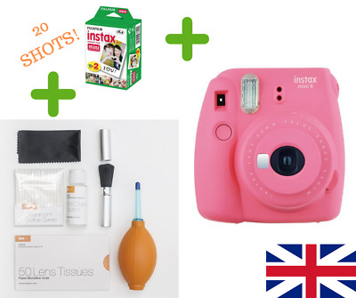 FUJIFILM INSTAX MINI 9 Instant Camera PINK + FILM 20 SHOT + HD FULL CLEAN KIT