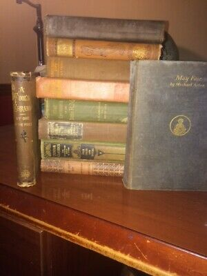 Huge Lot 10 Vintage Old Antique Books All Hardcover Mixed Color Unsorted--Decor