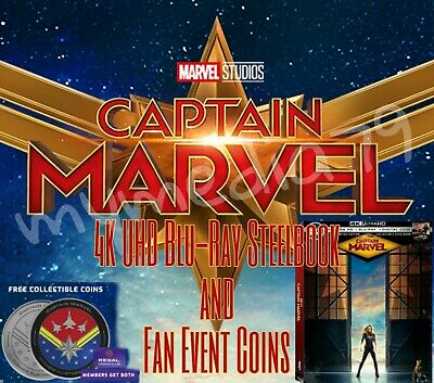 Captain Marvel 4K UHD Blu-Ray Steelbook Fan Event Coins Exclusive