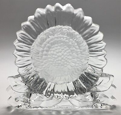 Partylite Clear Glass Frosted Center Sunflower Tealight Candle Holder