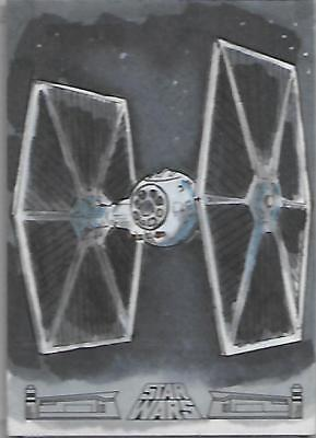 Star Wars Galactic Files Reborn Sketch Card IMP Tie Fighter - Ben Abu Topps 2017