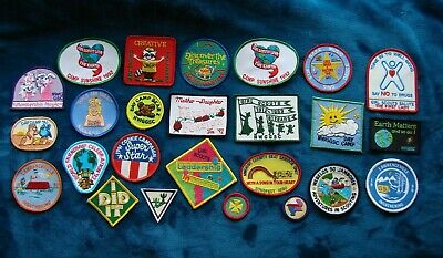 LOT OF 25 Vintage Girl Scout Patches  Never sewn Fun Patches