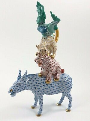 """Herend Musicians Of Bremen FIRST EDITION 9"""" Tall Donkey Dog Cat Chicken Fishnet"""