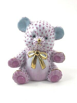 Herend TEDDY BEAR with GOLD BOW TIE Raspberry Fishnet BEAUTIFUL PIECE! MSRP $600