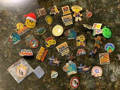WALMART EMPLOYEE LAPEL Pins Smiley Lot 40 Energizer Bunny Squiggly  Gingerbread