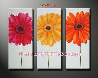 YH475 3PCS Hand painted Oil Canvas Wall Art home Decor abstract flowers NO Frame