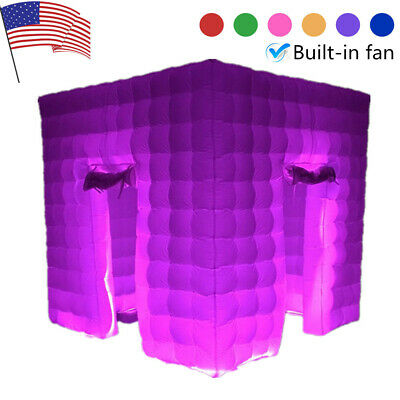 2.5M Inflatable LED Light Photo Booth Air Tent Wedding Party 2 Doors+RC+Fan USA