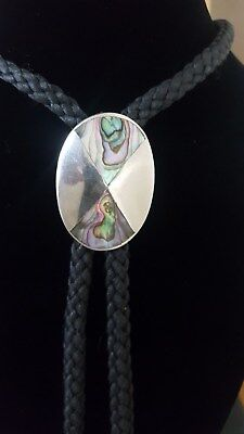 Alpaca Abalone Oval Pendant  With Black Cord Necklace - Marked Alpaca