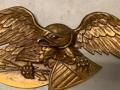 Antique American Cast Brass Eagle Banner Architectural Element From A Building