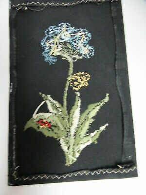 Finished Crewel Embroidery Flower Ladybug Floral on Black Fabric Completed 7x11
