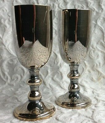 Pair 2 Vtg W&S Blackington Since 1865 Silver Plate Cordial Cocktail Silverplate