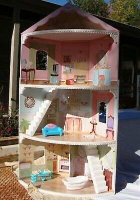 Large Dolls House, 1.3M High, Pink, Fits In A Corner. Furniture Vgc, Can Deliver