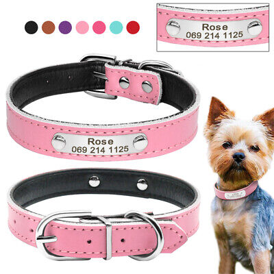 Soft PU Leather Personalized Dog Collar Custom Name ID Collar for Pet XS S M
