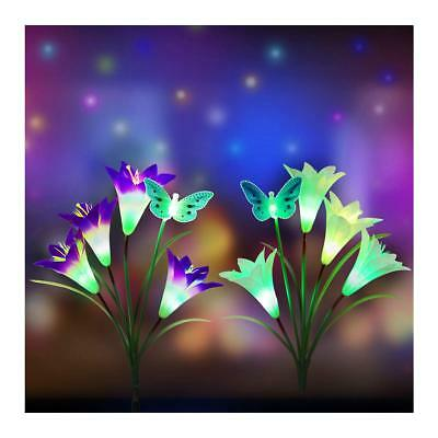 2 pk Outdoor Solar LED Color changing Lights Stake 8 Lily Flower&2 Butterfly