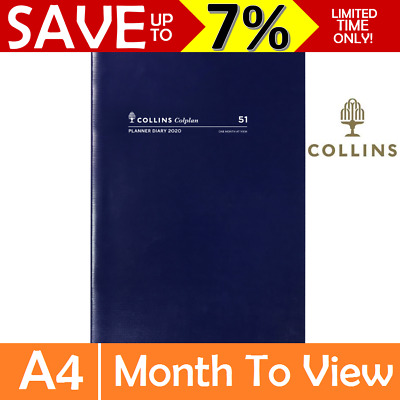 NEW 2020 Collins Colplan 1 Year A4 Monthly Planner Diary Month to View Grid Blue