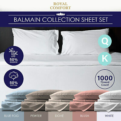 Royal Comfort 1000TC Hotel Grade Bamboo Cotton Sheets Pillowcases Set Ultrasoft