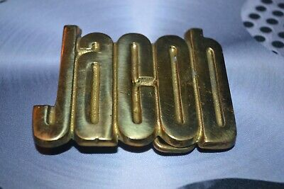 "Solid Brass Vintage 1970'S Belt Buckle ""Jacob"" Israelites Tribe Name"