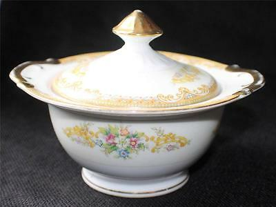 """Vintage 50s MAY FLOWER Japan Yellow Decor Band FLOWERS 5""""h Sugar Bowl w Lid"""