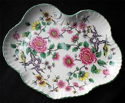 "Vintage JAMES KENT England OLD FOLEY CHINESE ROSE w BIRDS 8"" x 6 1/2"" Tray"