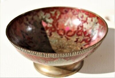 Large Chinese cloisonne footed bowl hand enameled.