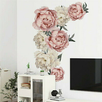 Peony Rose Flowers Walls Stickers Art Nursery Decals Kid Room Home Decor Gifts