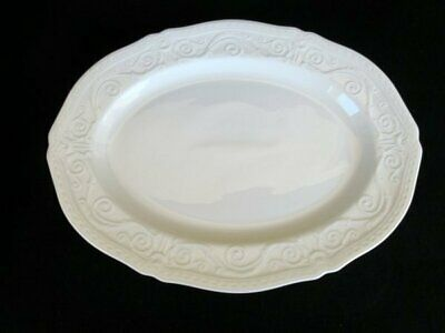 """Wedgwood Traditions White Bone China 15"""" Oval Serving Platter Embossed Ribbon/Sc"""