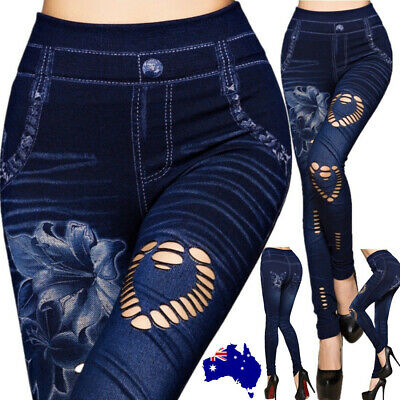 AU Fashion Women Denim Leggings Jeans Jeggings Stretchy Skinny Full Length Pant
