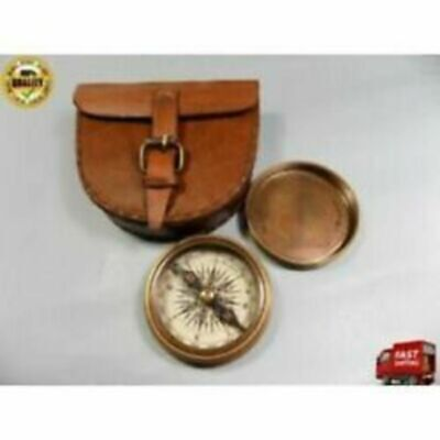 Made Of Material Antique Brass Pocket Compass With Leather Case Nautical Strap