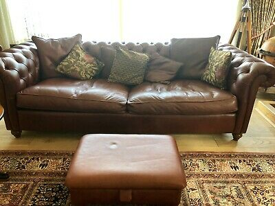 Chesterfield Original Winchester 4 Seater Antique Brown Leather Sofa Settee