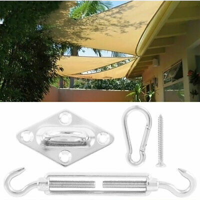 8X Stainless Steel Outdoor Garden Sun Sail Shade Canopy Fixing Fittings + Screws