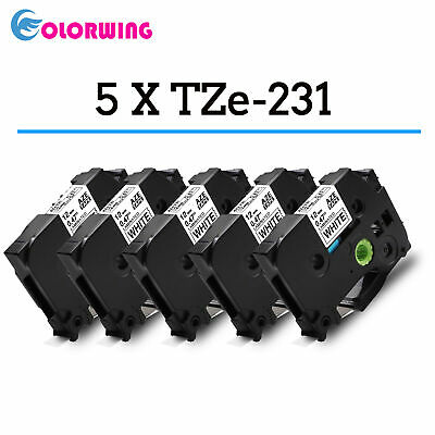 5x Brother P-Touch 1000 Tapes - Compatible TZE-231 Label Tape - Black on White