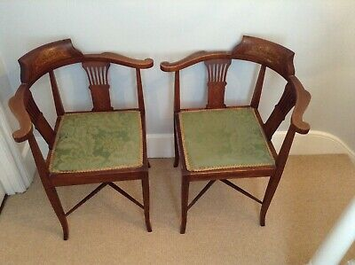 Lovely Antique Vintage Pair Of Corner Chairs With Inlay