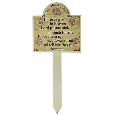 Mum Grave Memorial Stick Stake Marker If Roses Grow In Heaven Wood Roses SG1946