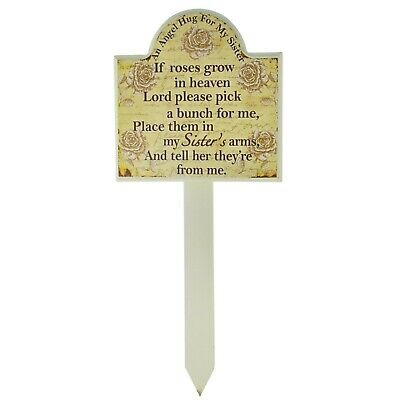 Sister Grave Memorial Stick Stake Marker If Roses Grow In Heaven Wood Roses