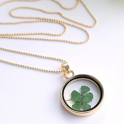 Dried Flower Clover Floating Locket Memory Living Pendant Necklace Gold Plated