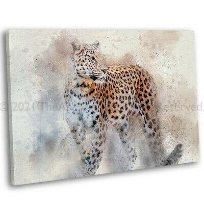 Leopard Abstract Watercolour Canvas Print Framed Painting Art Picture