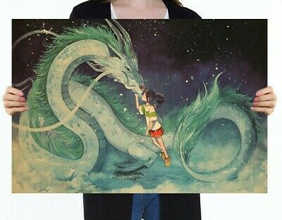 Famous Hayao Miyazaki Anime Movie Spirited Away Kraft Paper Poster