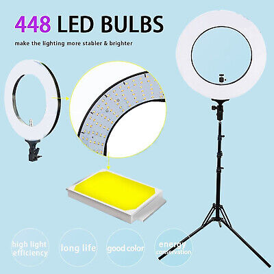 5500K Dimmable Diva LED Ring Light SMD Diffuser Stand Make-Up Camera Studio Kit