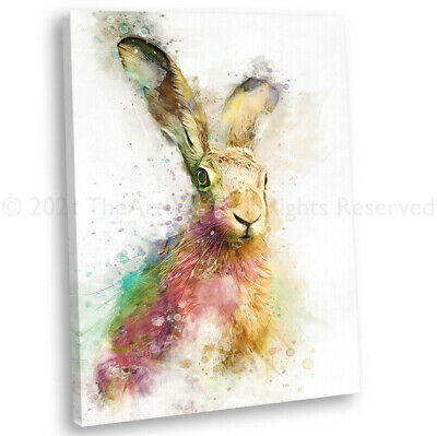 Sitting Hare Watercolour Style Canvas Print Framed Wall Art Picture