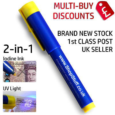Fake Note Detector Pens Checks Forged £20 Euro's Us$ Fake Note Tester Pens (G1)