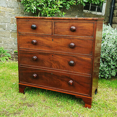 George III Mahogany & Satinwood 4 Height Chest of Drawers C1810 (Georgian)